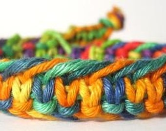 Fishbone Rainbow Hemp Bracelet - Made to Order