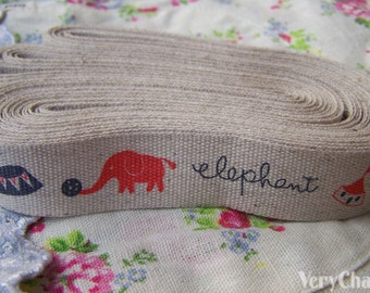 5.46 Yards (5 meters) Circus Elephant Print Linen Ribbon Label String A2684