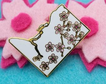 Gold DC Cherry Blossoms Hard Enamel Lapel Pin