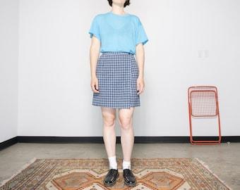 Size 8 / 90s Linen Blend Plaid Skort / Blue + White