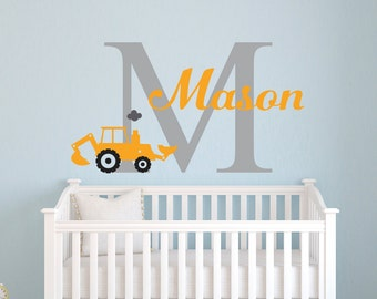 Boys Name Wall Decal - Truck Wall Decal - Personalized Name Wall Decal - Trucks Decal - Nursery Wall Decal - Monogram Boys Name Kids Decal