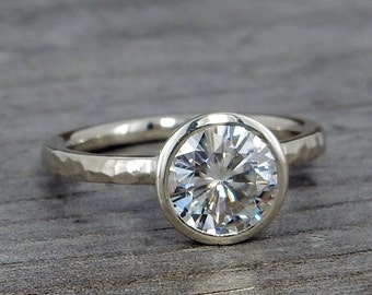 Moissanite Engagement Ring - Forever One DEF - Recycled 14k White Gold, Made to Order - Eco-Friendly Diamond Alternative, Made to Order