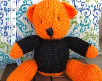 Hand Knitted Orange Teddy Bear Wearig Black Sweater