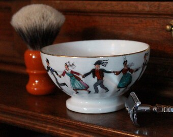 "Luxury Organic Shaving Soap - DARWIN - in Painted ""Bretagne"" Porcelain Bowl"