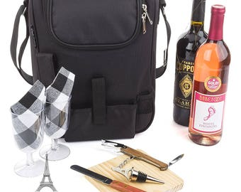 Insulated Travel Wine Tote Bag: Portable 2 Bottle Wine and Cheese Waterproof Black Canvas Carrier Bag Set with Picnic Kit