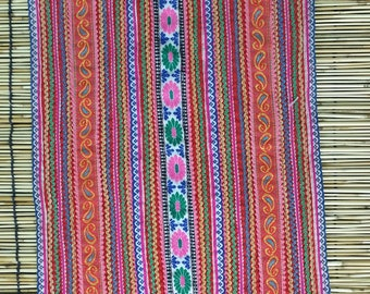 "Vintage Hmong Fabric - Vintage Cross-Stitch Fabric - Hand Embroidered - Hmong Hill Tribe - Tribal Fabric - Asian Fabric 25"" x 11"""