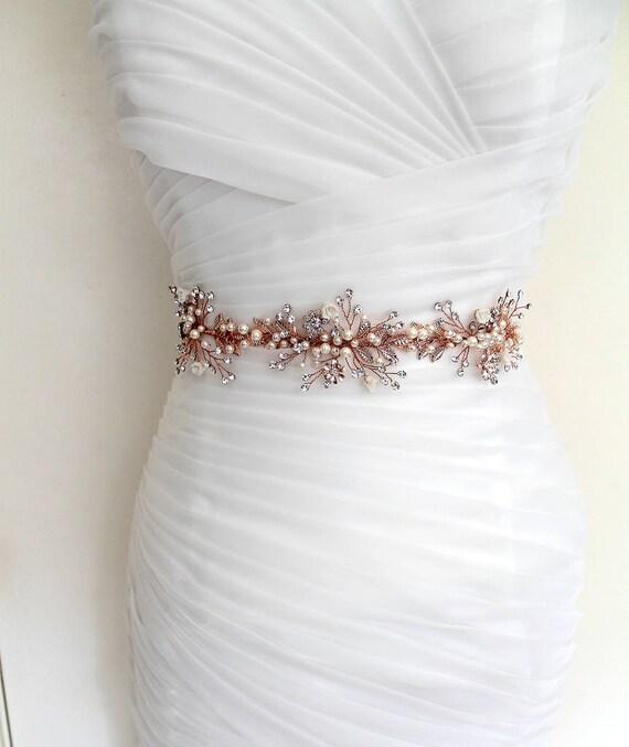 10% Off. Rose gold Leaf Vine Wedding Dress Belt. Boho Crystal
