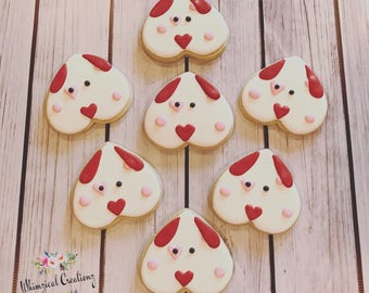 Sweetheart Pups Decorated Sugar Cookies
