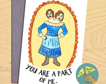 Conjoined Twins, You are a part of me love romantic flirty friendship blank funny pun card