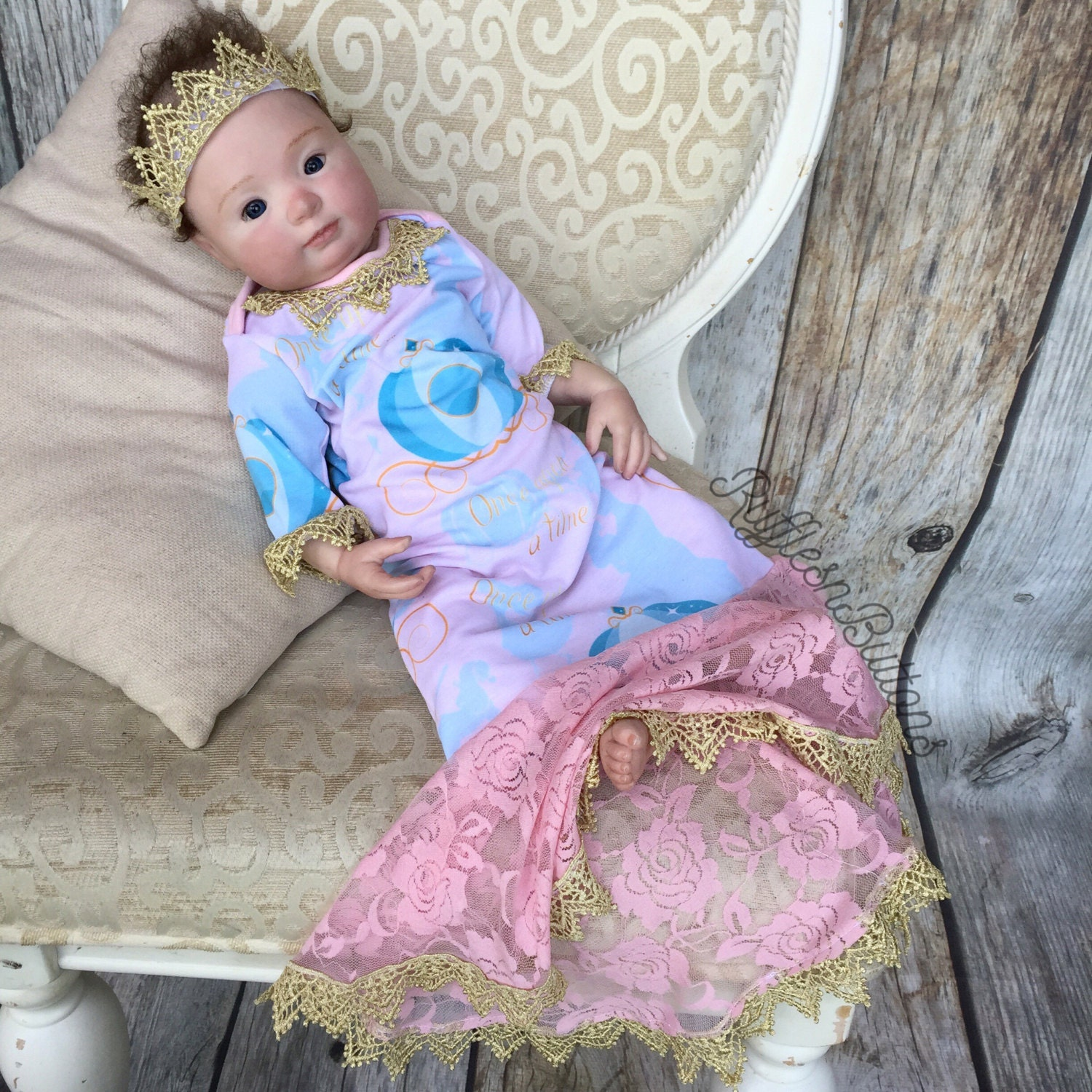 Princess baby gown pink and gold baby girl gown baby crown