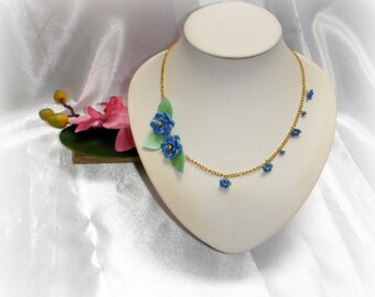 DARIA - Blue Flower necklace