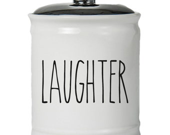 Laughter Word Jar With Lid - Money Coin Jar - Money Bank - Money Jar - Money Jar With Lid