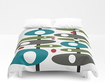 Mid Century Modern, Duvet Cover, King Bedding, Queen Duvet, King Duvet, Queen Bedding, Modern Bedding, Bed Cover, Geometric Bedding