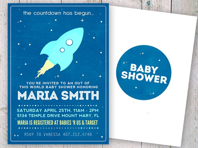 Outer Space Baby Shower Invitation Space Baby Shower