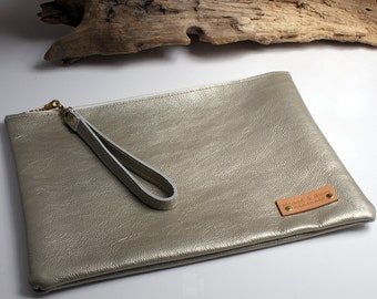 Champagne Silver Leather Clutch - Womens Handmade Handbags - Evening Bag - Large Clutch