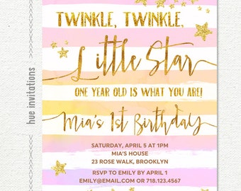 twinkle twinkle little star first birthday invitation girl, pink coral watercolor gold glitter stars stripes, custom printable digital file