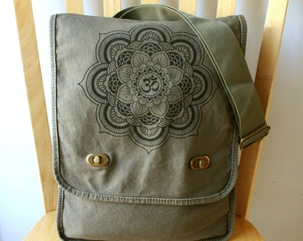Mandala Canvas Messenger Bag Laptop Bag Shoulder Bag