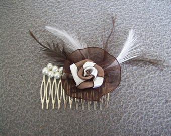 Bridal Pearl hair comb white / brown feathers and chocolate flower satin wedding evening parties hair ceremony