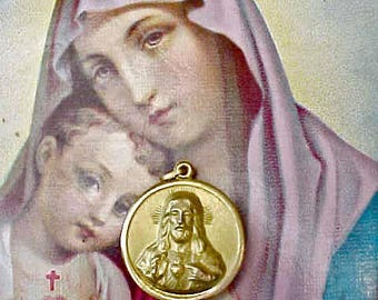 Pretty Vintage Religious Medal: Sacred Heart of Jesus and Nuestera Senora de Guardalupe
