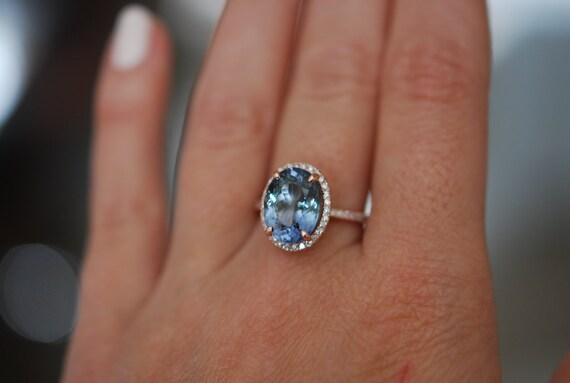 Tanzanite Ring. Rose Gold Ring. 5.01ct Lavender Mint Tanzanite oval cut engagement ring 14k rose gold.