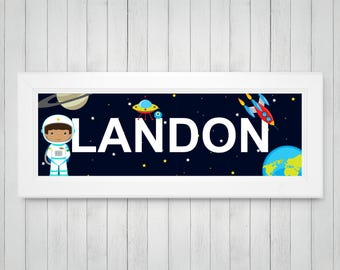 Astronaut Art - Personalized Name Print - Boys Room Decor - Planet Art - Outer Space Nursery - Outer Space Decor - FRAMED Name Print