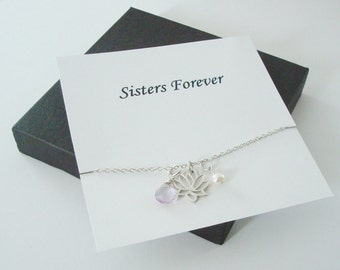 Lotus Charm with White Pearl & Pink Amethyst Silver Necklace ~~Personalized Jewelry Gift Card for Sister, Friend, Best Friend, Sister in Law