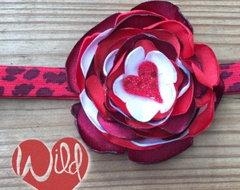 Wild At Heart Red & White Valentines Day Girls Headband or Hair Clip