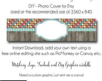 DIY Etsy Cover Photo - Add your own Text, Instant Download, Partridge Family, New Cover Photo For Etsy, Made to Match Graphics