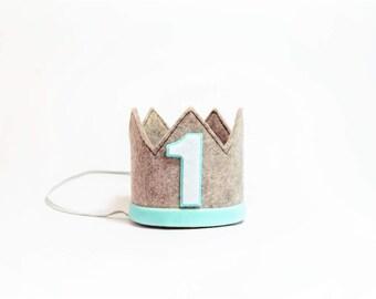 Boy Birthday Crown || First Birthday Boy Outfit || Boy Birthday Hat || Heather Grey + Aqua Crown
