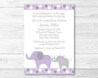 Purple Elephant Baby Shower Invitation PRINTABLE A409