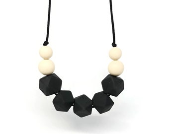 Silicone Teething Necklace - Black necklace - Bite Beads Nursing Necklace Jewelry - Teether Chewing Beads - Chew Jewelry Beads - Bitty Bites