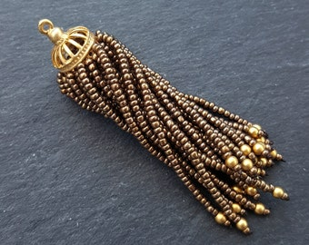 Long Bronze Beaded Tassel - 22k Matte Gold Plated Brass - 1PC