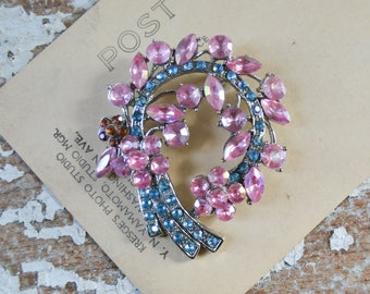Vintage Rhinestone Flower Brooch - Pink Blue Stone Costume Pin in Silver Bouquet