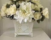 White silk flower arrangement - Rose centerpiece - floral table decor - shabby chic flowers - floral centerpiece - wedding decoration