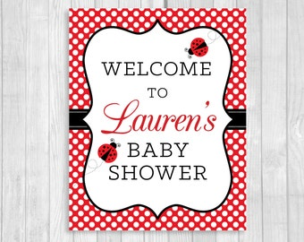 Custom Personalized Printable Girl's Ladybug Baby Shower Welcome Sign - Any Size- Red and White Polka Dots - Features MOM-To-Be's NAME
