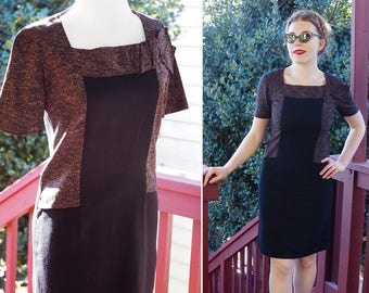 Heathered PUMPKIN 1950's 60's Vintage Black Rayon Dress w/ Short Sleeves + Side Bow  // by VOGUE Paris Original // size Small 34
