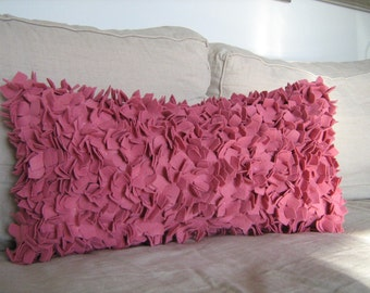 The Statment Pillow- Large Hydrangea Lumbar Pillow in Rose Felt