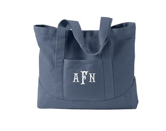 Tote Bag - Monogrammed -  Personalized Canvas Tote Bag  in 7 colors