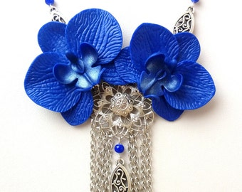 Blue Necklace, Statement Necklace, Orchid Necklace, Flower Necklace, Blue Jewelry, Blue Orchid, Floral Necklace, Wedding Jewelry, Women Gift