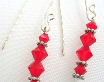 Earrings with Red Swarovski Crystals and Sterling Silver Spacers