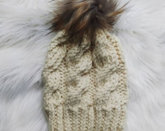 Cream cable knit beanie with faux fur pom, cream handmade beanie, cream winter hat