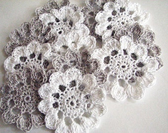 Crochet Thread Flowers - 12 White and Grey/Silver Appliques