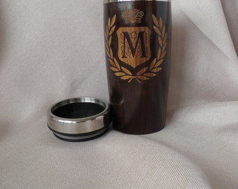 Personalized Wooden Travel Mug, Car Thermo Mug, 0.5 Liter Beer Glass, Coffee Mug, Tea Mug, Valentines  Day Gift for Him