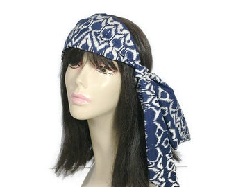 Blue and White Scarves IKAT Hair Scarves Blue and White Head Wrap Neck Scarf Lightweight Women's Scarf Blue and White Cotton Summer Scarves