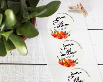 Fall Bouquet Favor Labels - Bridal Shower Favor Label - Round Labels | Fall Wedding Labels | Floral Labels | Mason Jar Labels-ANY OCCASION