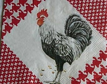 Rooster and hen napkin