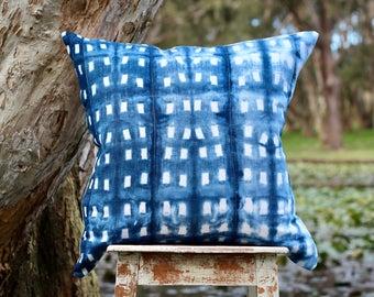 Cushion, shibori cushion, indigo cushion, large cushion, small cushion, hand dyed cushion, Indigo dyed shibori  little squares cushion