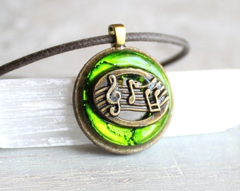 green music necklace, musical jewelry, musical note, treble clef, music melody, musician gift, music lover, graduation gift, music teacher
