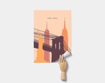 New York Travel Art Poster. Print. NYC. Empire State Building. Brooklyn Bridge. Poster.