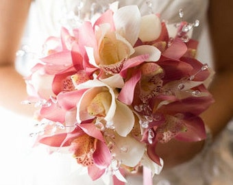 Pink, ivory, white/offwhite, bouquet, Real Touch flowers, cymbidium, orchids, silver, crystals, silk, wedding, flowers, Bride, Groom, set